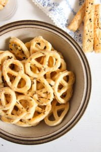 cheese pretzel ed 8 200x300 Romanian Cheese and Caraway Seed Pretzels or Sticks