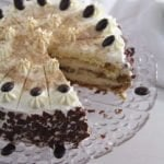 cappuccino whiskey cake filled with cream cheese