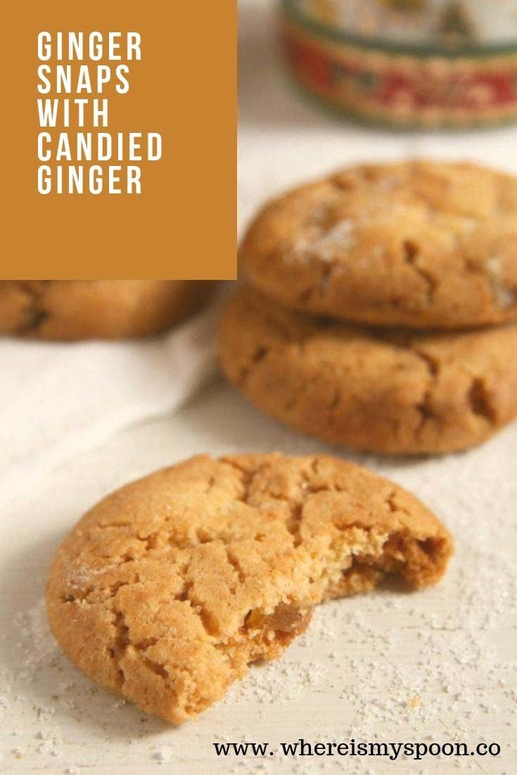 ginger snaps 735x1102 Ginger Snaps Recipe – Candied Ginger Cookies