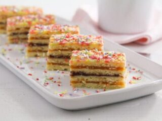 romanian harlequin cake layered with jam