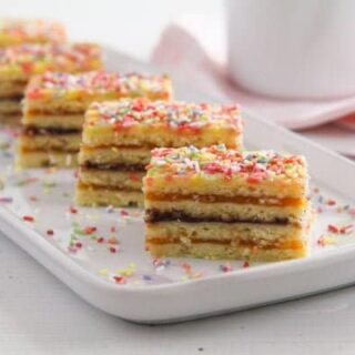 romanian harlequin cake layered with jam