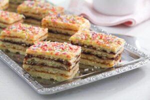 jam cake arlechin ed 5 300x200 Layered Cake with Jam Filling – Romanian Cake Harlequin