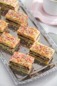 jam cake arlechin ed 6 200x300 Layered Cake with Jam Filling – Romanian Cake Harlequin