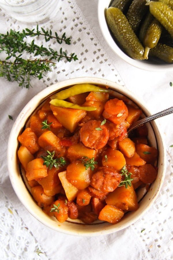 Easy Potato Stew with Cabanossi Sausages and Vegetables