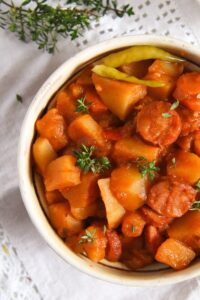 potato goulash ed 2 200x300 Easy Potato Stew with Cabanossi Sausages and Vegetables