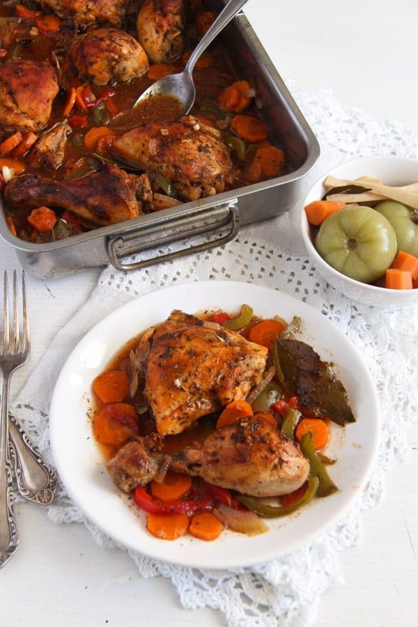 Romanian roasted chicken and vegetables