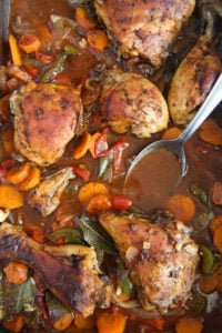 roasted chicken legs 8 200x300 Oven Roasted Chicken Legs with Garlic and Vegetables