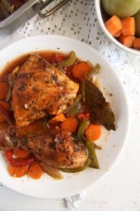 roasted chicken legs 9 200x300 Oven Roasted Chicken Legs with Garlic and Vegetables