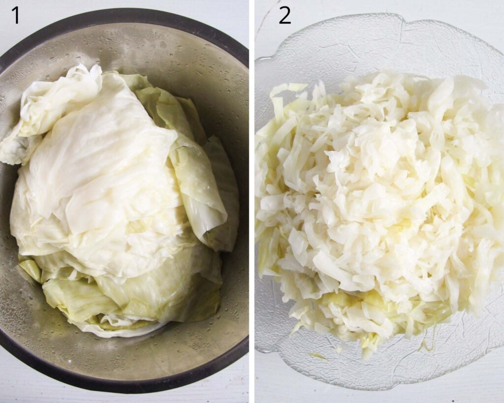 collage of two pictures of precooked cabbage leaves and chopped ones.