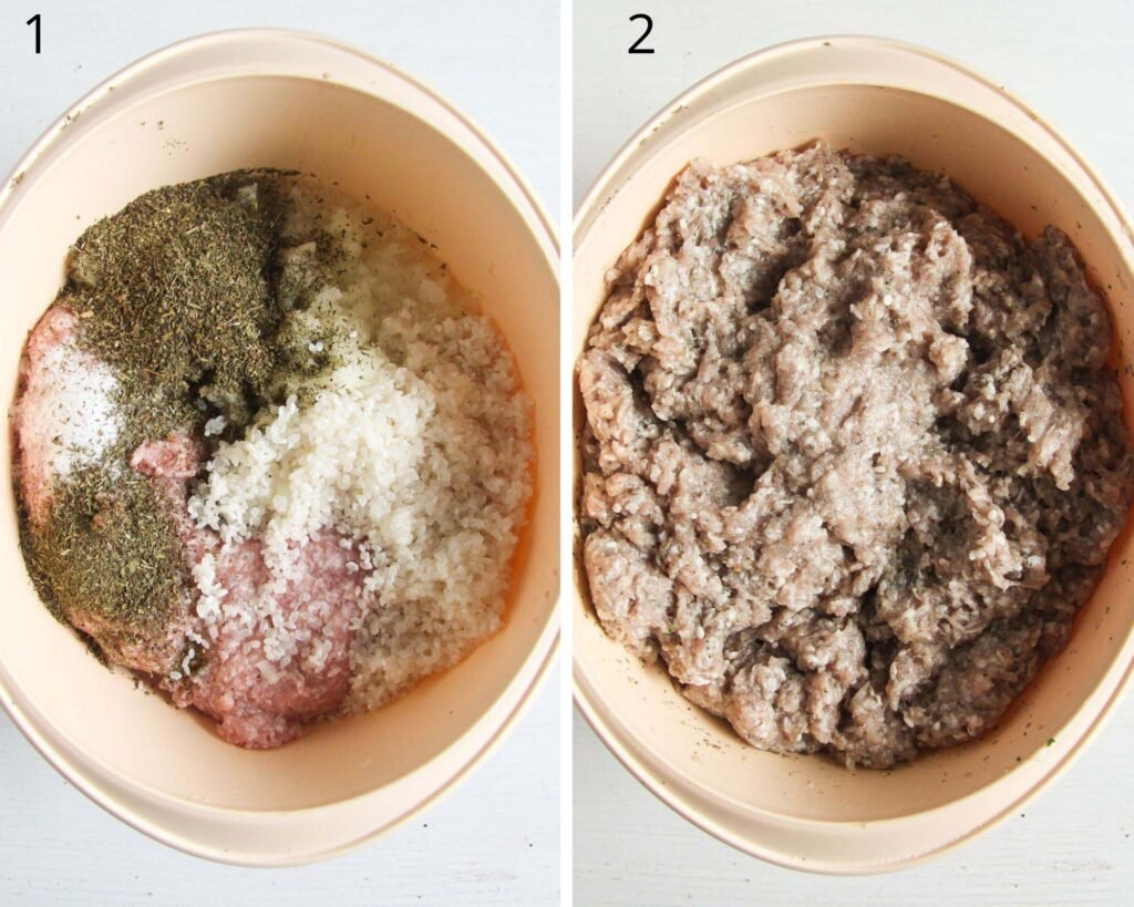 collage of two pictures of mixing ground beef, rice and spices.