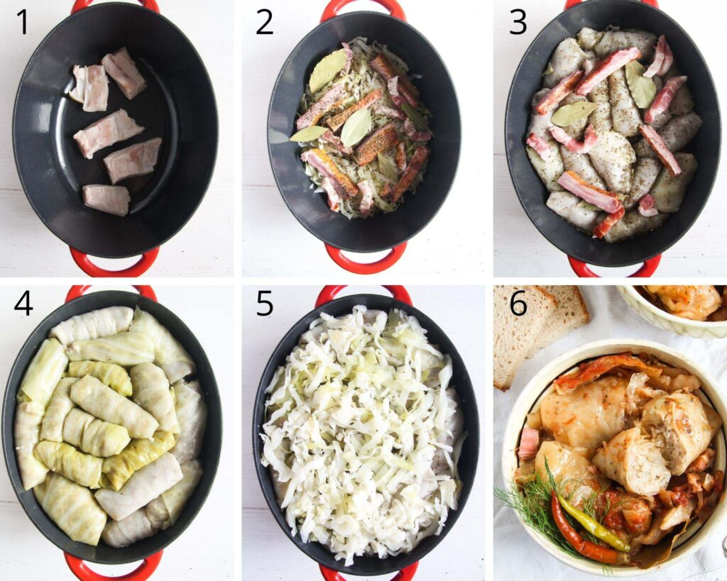 collage of six pictures showing how to arrange cabbage rolls in a pot.