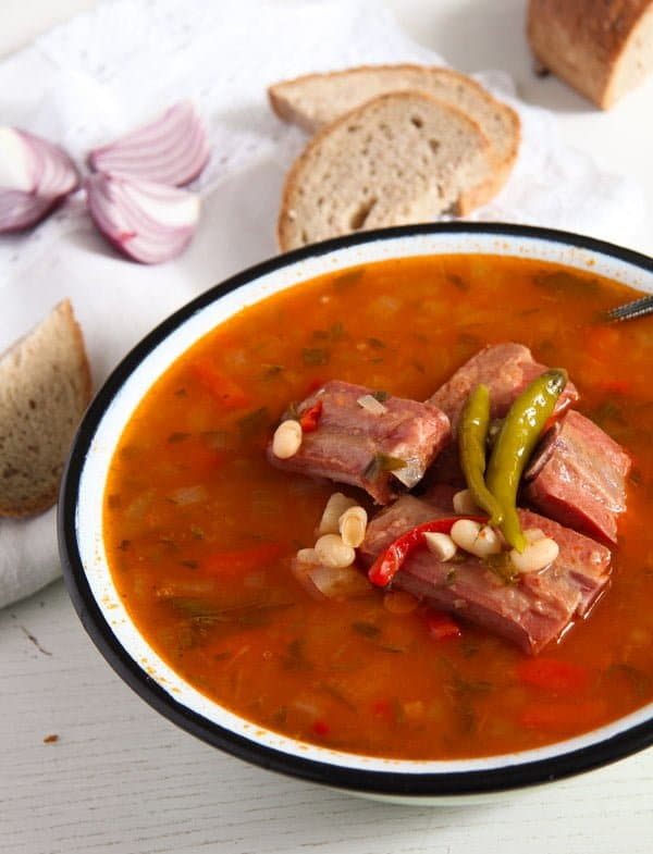 White Bean Soup with Smoked Spare Ribs and Tarragon