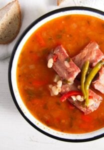 bean soup 4 208x300 White Bean Soup with Smoked Spare Ribs and Tarragon