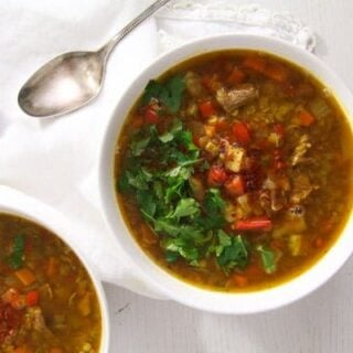 Yellow Lentil Soup (with Beef Bones)