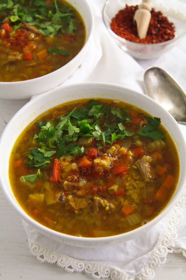Spicy Yellow Split Lentils and Beef Soup with Vegetables