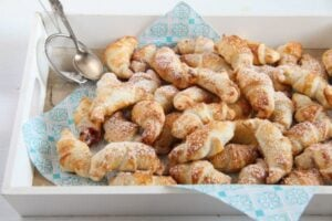 mini croissants 7 300x200 Easy Rose Jam Filled Puff Pastry Croissants
