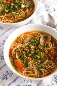 mushroom noodle soup 1 200x300 Quick and Spicy Mushroom Egg Noodle Soup