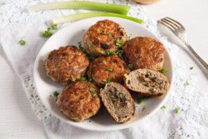 mushroom stuffed meatballs 4 300x200 Skillet Mushroom Stuffed Meatballs with Herbs – Polish Recipe