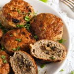 meatball stuffed with mushrooms cut to see the filling