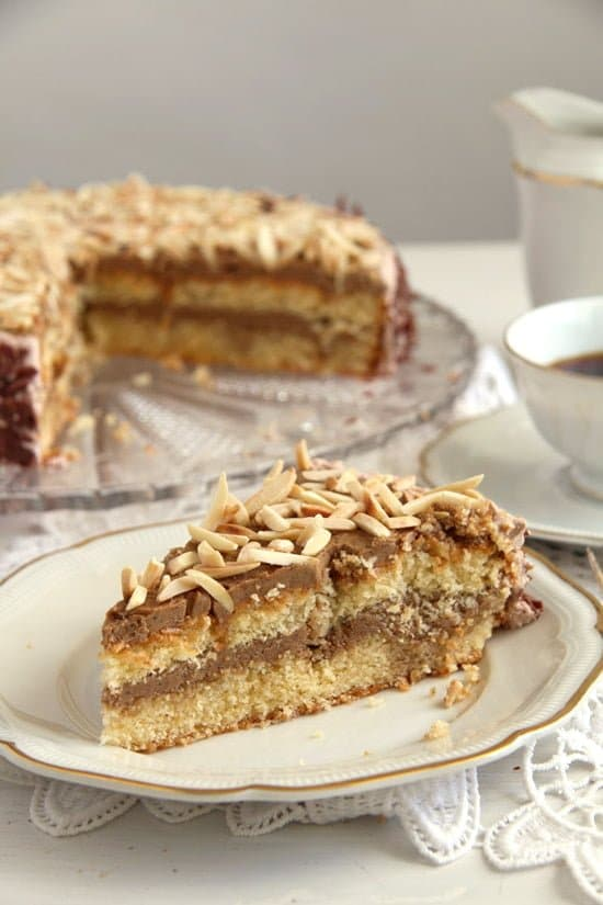polish almond cake  Almond Cake with Coffee Caramel Buttercream – Polish Tort Migdalowy