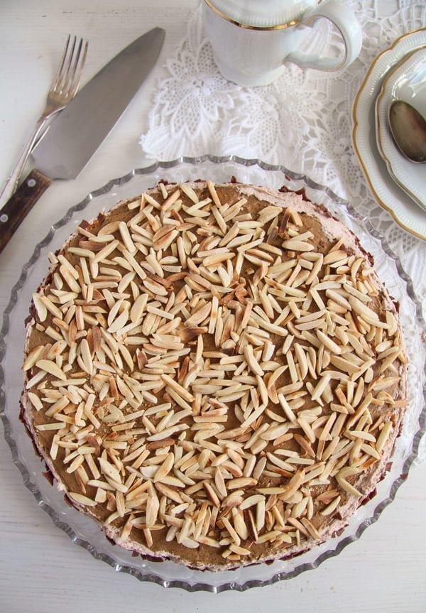 Almond Cake with Coffee Caramel Buttercream – Polish Tort Migdalowy