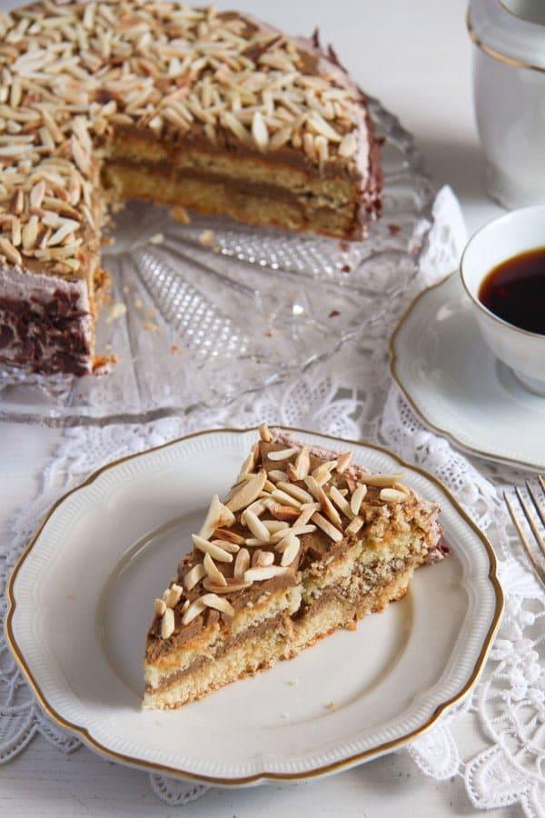 polish almond cake 4 Almond Cake with Coffee Caramel Buttercream – Polish Tort Migdalowy