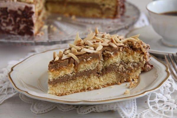 polish almond cake 5 Almond Cake with Coffee Caramel Buttercream – Polish Tort Migdalowy