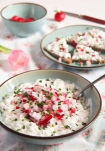 polish cheese spread 6 210x300 Polish Cottage Cheese Spread with Chives and Radishes