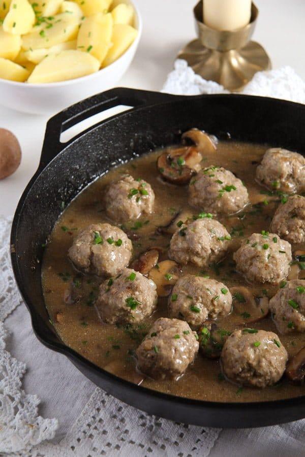 Polish Meatballs with Mushroom Sour Cream Gravy