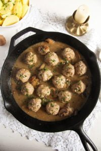 polish meatballs sauce 3 200x300 Polish Meatballs with Mushroom Sour Cream Gravy