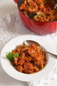 polish pork stew 6 200x300 Sauerkraut Stew with Pork and Sausages – Polish Bigos Recipe