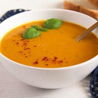 sweet potato soup vegan in a bowl