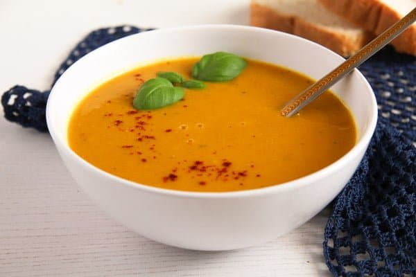 Bowl of Sweet Potato Soup with Coconut Milk and Ginger