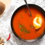 tomato soup 2 150x150 Spicy Tomato Ginger Soup with Poached Eggs