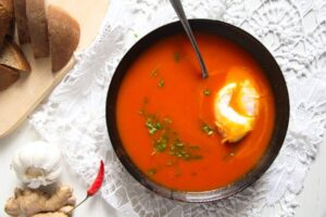 tomato soup 2 300x200 Spicy Tomato Ginger Soup with Poached Eggs