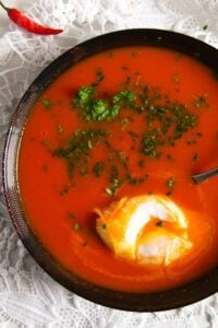 tomato soup 3 200x300 Spicy Tomato Ginger Soup with Poached Eggs