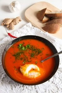 tomato soup 5 200x300 Spicy Tomato Ginger Soup with Poached Eggs