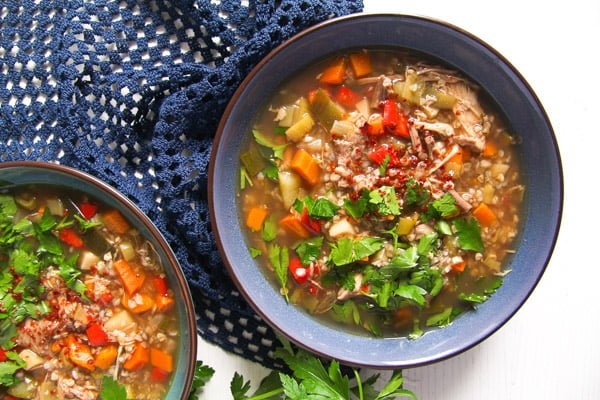 Healthy Turkey or Chicken Buckwheat Soup with Vegetables