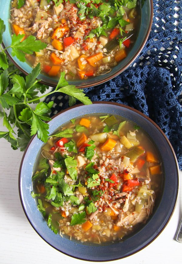 turkey buckwheat soup 4 Healthy Turkey or Chicken Buckwheat Soup with Vegetables