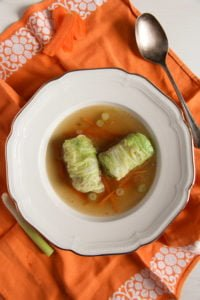 cabbage rolls asian 1 200x300 Asian Stuffed Cabbage Leaves in Chicken Ginger Broth