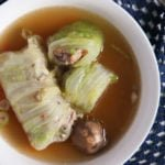asian stuffed cabbage served in chicken broth