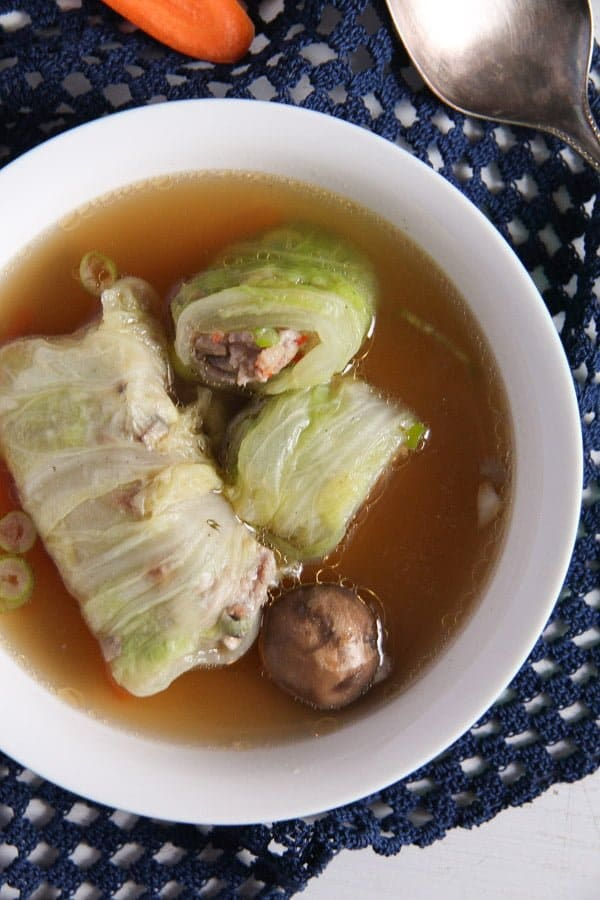 cabbage rolls asian 3 Asian Stuffed Napa Cabbage Leaves in Chicken Ginger Broth