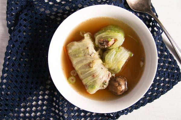 cabbage rolls asian 4 Asian Stuffed Napa Cabbage Leaves in Chicken Ginger Broth