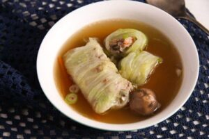 cabbage rolls asian 5 300x200 Asian Stuffed Cabbage Leaves in Chicken Ginger Broth