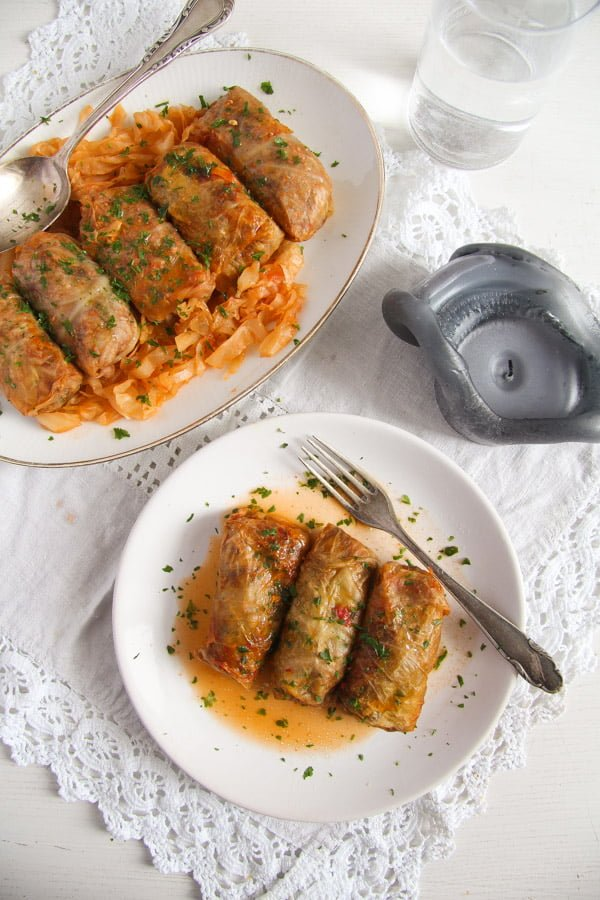 cabbage rolls rice 2 Vegan Sauerkraut Rolls with Rice, Walnuts and Raisins