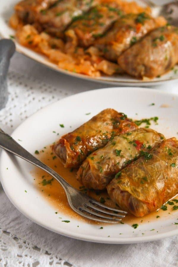 cabbage rolls rice 4 Vegan Sauerkraut Rolls with Rice, Walnuts and Raisins