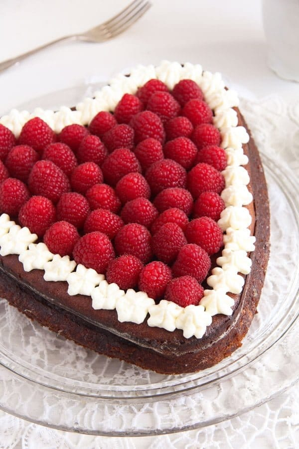 Heart-Shaped Cheesecake with Raspberries and Whipped Cream