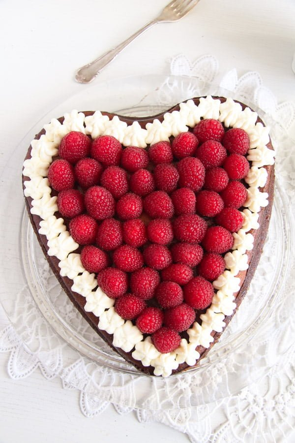 heart cheesecake 3 Heart Shaped Cheesecake with Raspberries and Whipped Cream