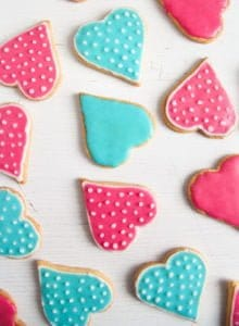 heart cookies 1 220x300 Easy Heart Shaped Butter Cookies with Flood Icing