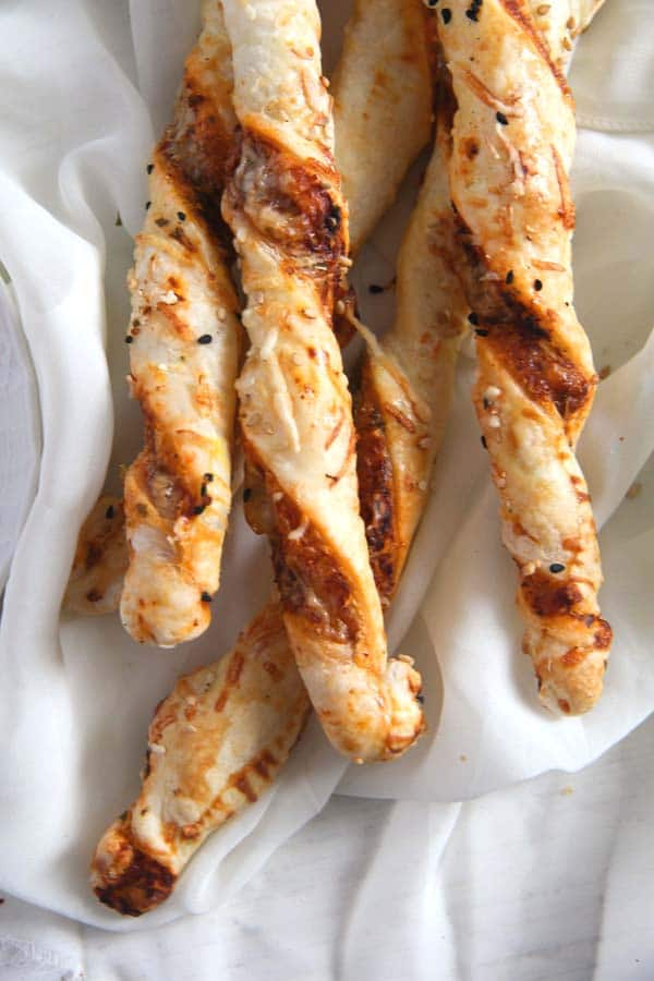 puff pastry twists with parmesan and herbs